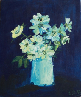 White Flowers in a White Vase