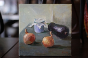 SOLD. Still life with aubergines