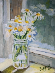 Daisies in a glass jar, acrylic on canvas
