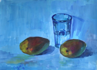 Mangoes and a glass